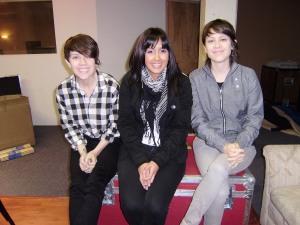 Sara Quin, myself, and Tegan Quin in their Vancouver studio.